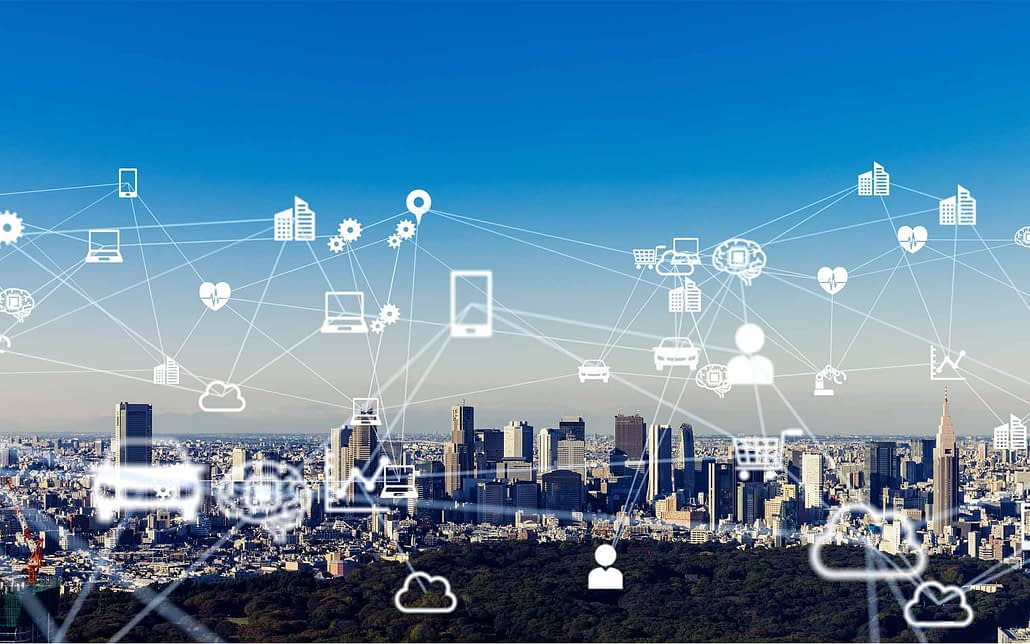 Internet of things concept over a city scape